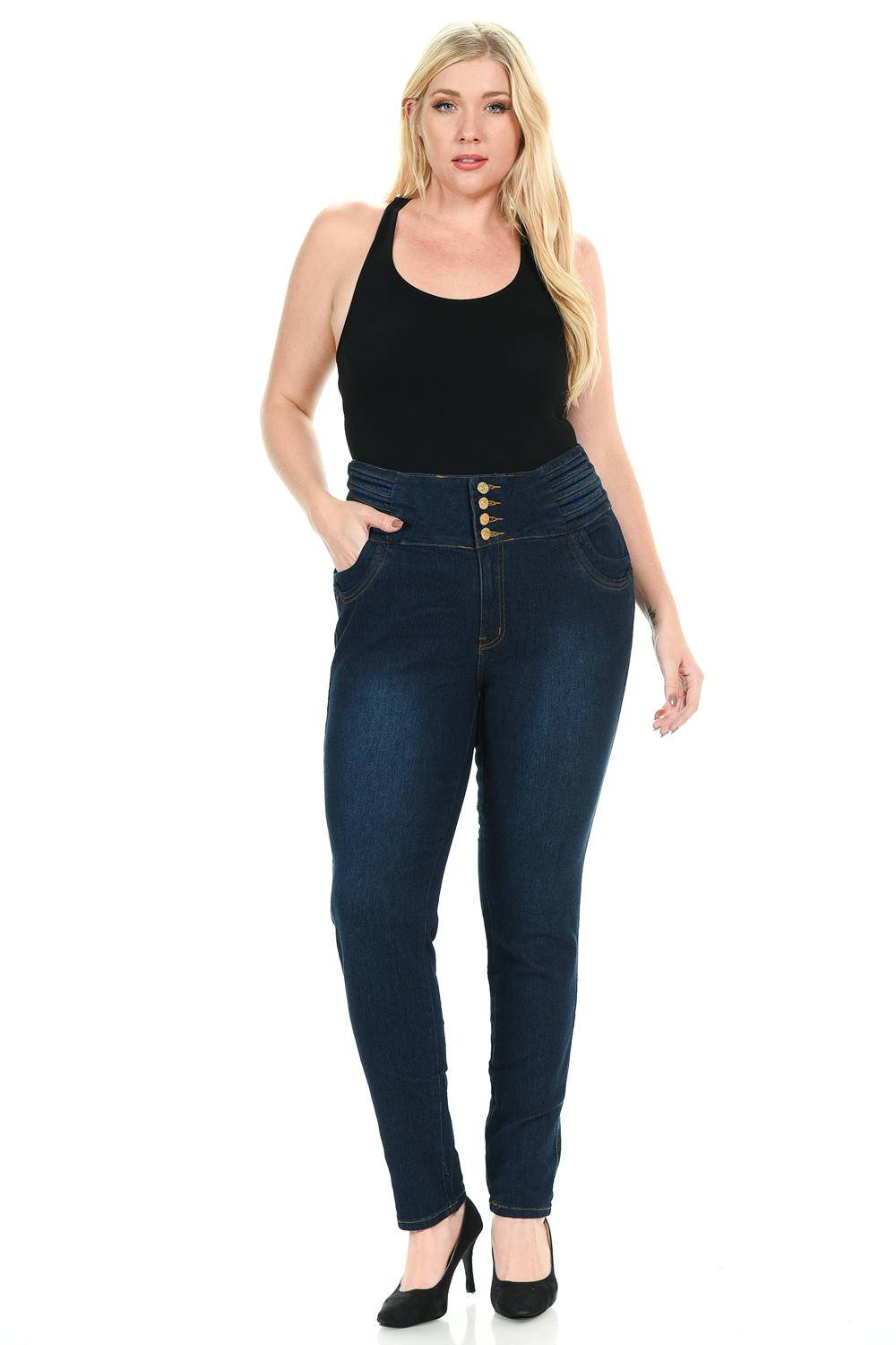 - Pasion Women's Jeans · Plus Size · High Waist · Push Up · Style N497