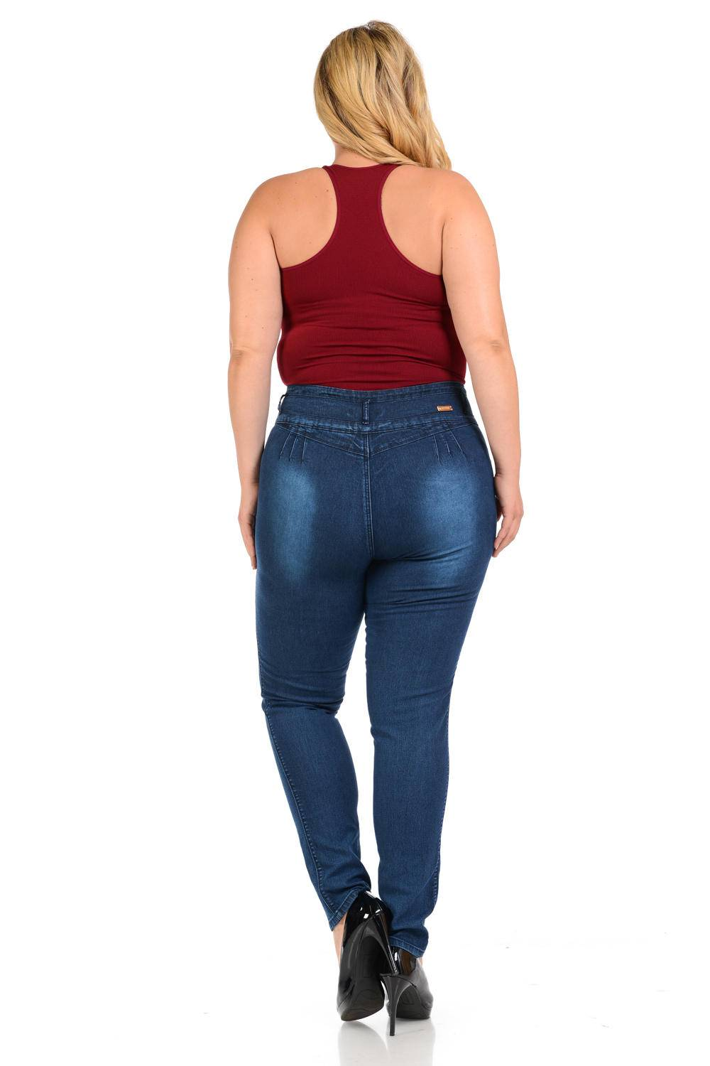 Diamante Missy Size High Waist Push Up Jeans
