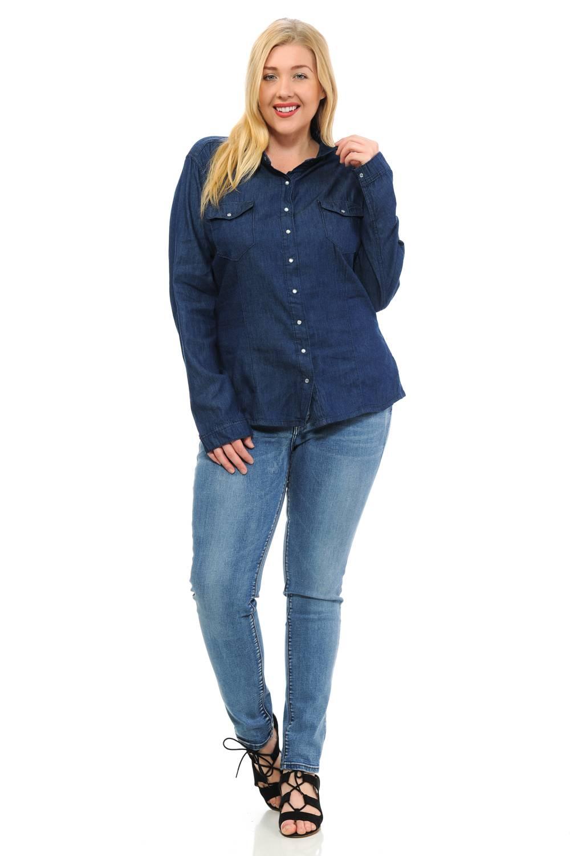 Sweet Look Denim Blouses Plus Size